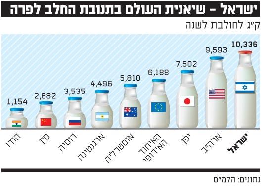 ישראל שיאנית העולם בתנובת החלב לפרה
