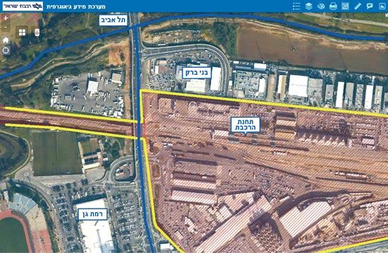 שטח התחנה: שלוש רשויות ומגרש ענק בבעלות הרכבת (מוקף בצהוב) / צילום: רכבת ישראל