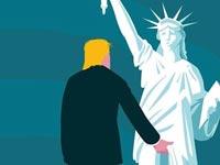 טראמפ תופס את פסל החירות / צילום מסך מפייסבוק