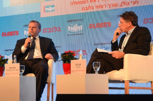 Eli Groner, Director General, Prime Minister's Office with Hagai Golan, Globes. צילום איל יצהר