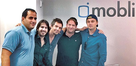 Mobli employees and Leonardo diCaprio