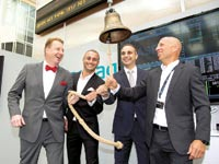 """הנהלת אספייר גלובל פותחת את המסחר בבורסה בשטוקהולם היום / צילום: יח""""צ"""