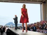 הנשיא טראמפ ואשתו מלאניה בעצרת בדרום פלורידה אתמול /  צילום: רויטרס