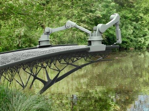 גשר שנבנה במדפסת תלת ממד, אמסטרדם / צילום: וידאו