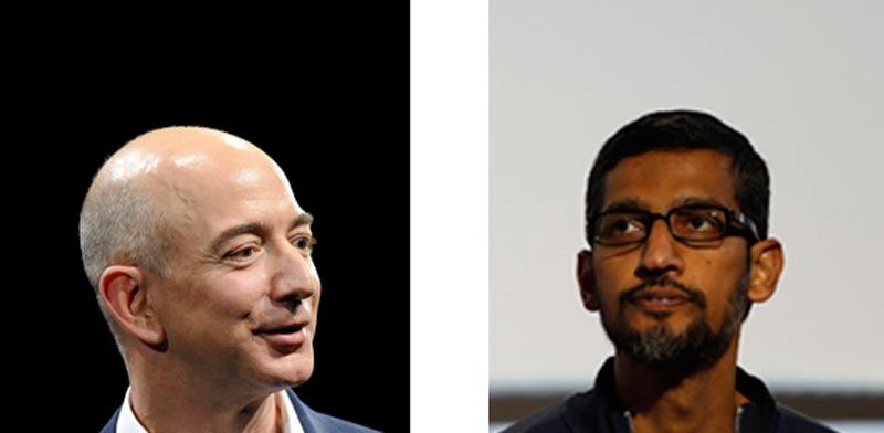 """מנכ""""ל גוגל, סונדר פיצ'אי ומנכ""""ל אמזון, ג'ף בזוס / צילומים: רויטרס"""