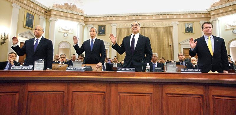 מנהלי הבנקים הגדולים בעדות בפני הקונגרס על חלקם במשבר  / צילום: רויטרס