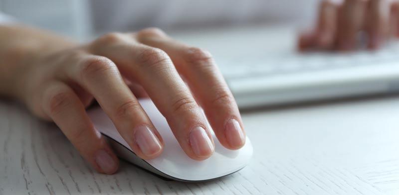 כף יד על עכבר של מחשב / צילום:Shutterstock/ א.ס.א.פ קרייטיב