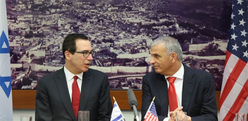 Moshe Kahlon and Steven Mnuchin Photo: GPO Noam Rivkin Fenton