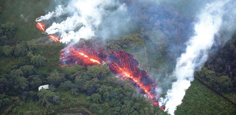 Kilauea volcano Hawaii near Ormat plant  photo: Reuters
