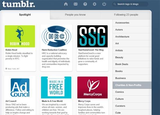 הפיצר Spotlight שמאפשר לכם לגלות בלוגים מעניינים בתחומים שונים \ מתוך: צילום מסך טאמבלר
