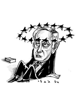 איך ההיסטוריה חוזרת על עצמה,קריקטורה מ-1996 ביבי נתניהו (אז שר אוצר) ויחסיו עם האיחוד האירופאי.