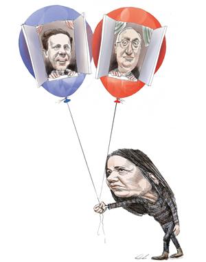 """מי יעז לפוצץ את בועת הנדל""""ן? בגלובסופ""""ש. צייר: גיל ג'יבלי"""