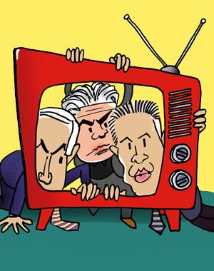 """אלי ציפורי בגלובסופ""""ש כותב:  שעל עובדי התאגיד ורשות השידור אף אחד לא חשב. צייר: גיל ג'יבלי"""
