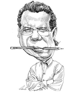 יואב יצחק  עיתונאי אנטי-ממסדי ובעל אתר האינטרנט News1  צייר:גיל ג'יבלי
