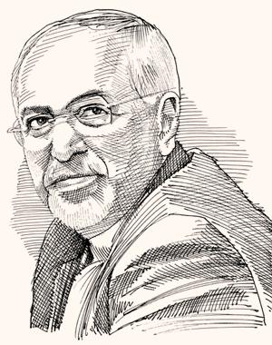 מוחמד ג'וואד זריף שר החוץ האיראני. צייר: גיל ג'יבלי