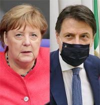 ג'וזפה קונטה, ראש ממשלת איטליה, אנגלה מרקל, קנצלרית גרמניה / צילום: Associated Press