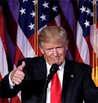 דונלד טראמפ נואם בעצרת תומכים במנהטן לאחר שזכה בבחירות ב-2016 / צילום: Mike Segar, רויטרס