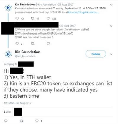 ציוץ בעניין אסימון Kin / צילום מסך מחשבון הטוויטר של Kin