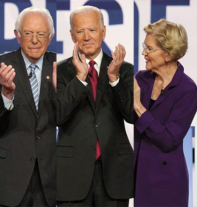 אליזבת וורן, ג'ו ביידן וברני סנדרס / צילום: רויטרס