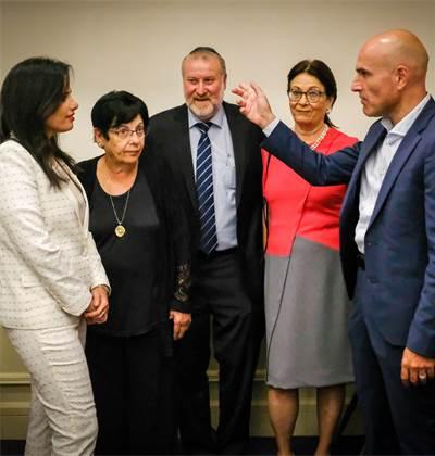 מימין לשמאל: אפי נוה, אסתר חיות, אביחי מנדלבליט, מרים נאור ואיילת שקד בכנס שנת המשפט ב־2018 צילום: שלומי יוסף