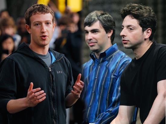 """""""ענקיות האינטרנט משפיעות היום על המחשבות והזהויות שלנו"""". מייסדי גוגל, סרגיי ברין ולארי פייג', ומייסד פייסבוק, מארק צוקרברג / צילום: Gettyimages ישראל, רויטרס"""