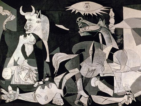גרניקה, 1937. שחור על גבי לבן כדי לנטרל כל הפרעה מן העיקר