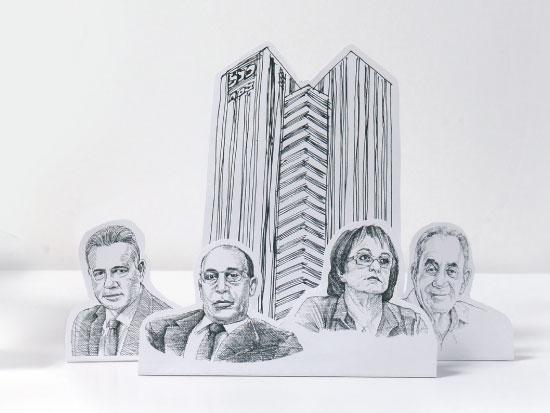 מימין לשמאל: אלפרד אקירוב, ורדה אלשיך, אייל לפידות, דני נוה / איורים: גיל ג'יבלי