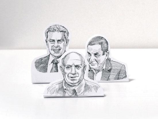 מימין לשמאל: יפתח רון טל, יקי ודמני, איציק אברכהן / איורים: גיל ג'יבלי