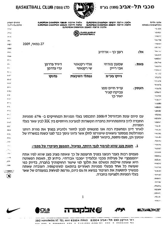 מכתב מכבי תל אביב, רענן כץ, דיויד פדרמן