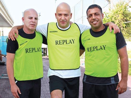 יעקב פרץ, מתאו סיניאליה, רוני הרדי, טורני כדורגל של אופנת REPLAY / צילום: עומר מוסלי