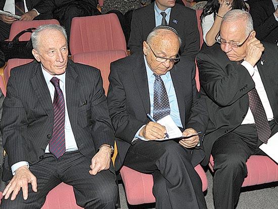 רובי ריבלין, יעקב נאמן, יהודה וינשטיין, יובל להקמת לשכת עורכי הדין / צלם איל יצהר