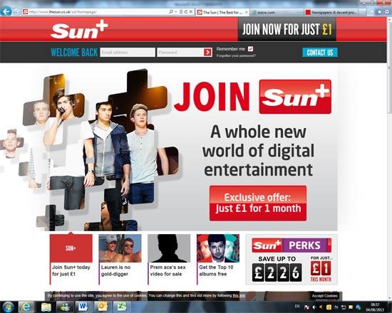 פרסומת של חומת תשלום חדשה של העיתון סאן / צילום: יחצ