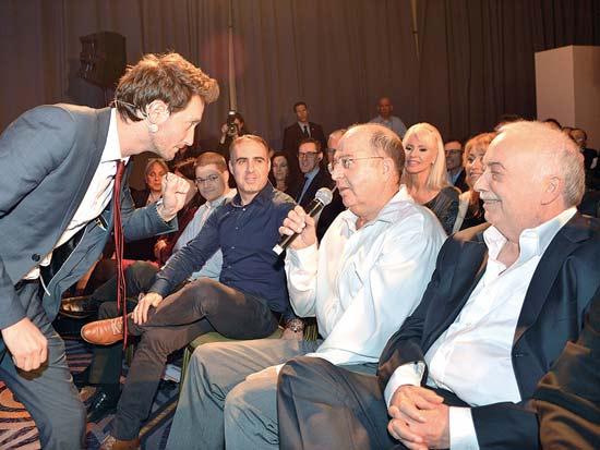 אליעזר פישמן, משה (בוגי) יעלון, ליאור סושרד, ועידת ישראל לעסקים 2013 / צילום: תמר מצפי