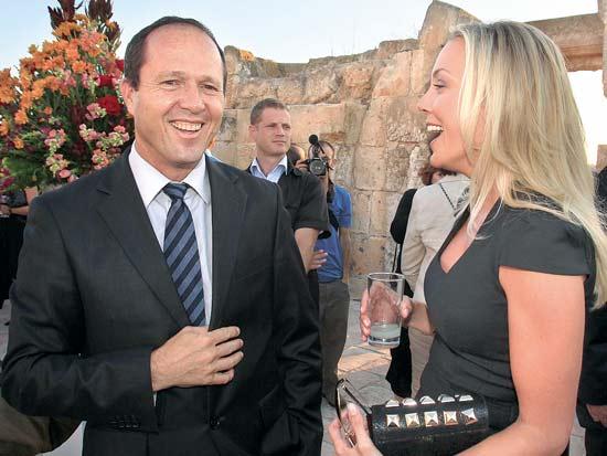 ג'יימי אגייאר, ניר ברקת ארוע VIP ערב פתיחת המכביה / צילום: חיים צח