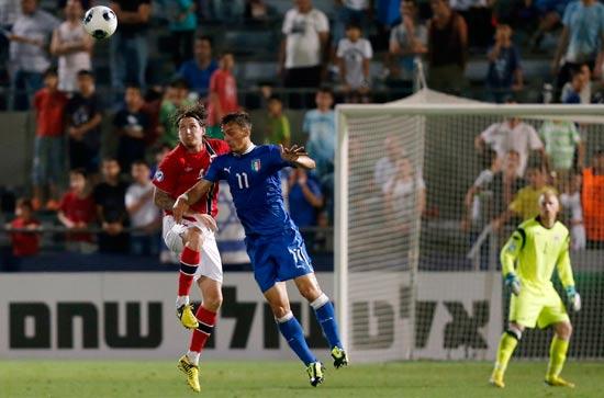 נורבגיה מול איטליה במסגרת יורו 2013 בישראל / צלם: רויטרס