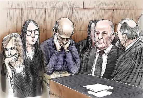 אהוד אולמרט בבית המשפט / איור : גיל ג'יבלי
