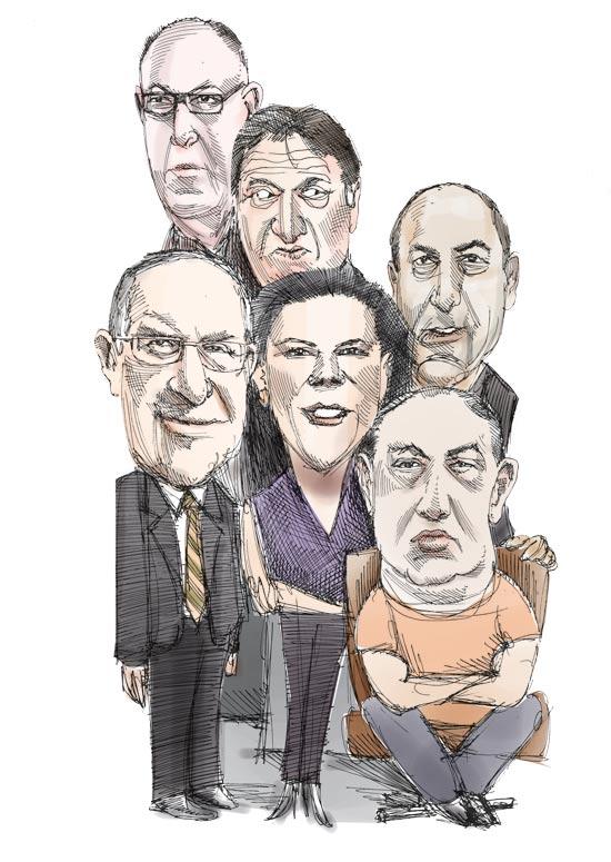 רמי לוי, רוני קוברובסקי, גבי רוטר, הראל ויזל, עפרה שטראוס ודן פרופר / איור: גיל ג'יבלי