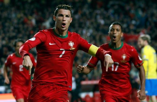 כריסטיאנו רונאלדו במדי נבחרת פורטוגל / צלם: רויטרס