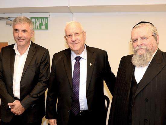 הרב פירר, רובי ריבלין וליאוניד נבזלין / צילום: מורג ביטון