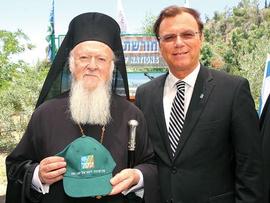 אפי שטנצלר והפטריארך ברתולומאוס / צילום: יחצ