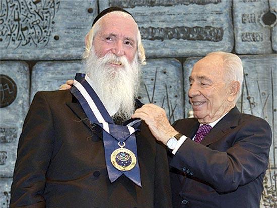 שמעון פרס והרב דוד גרוסמן / צילום: מאר ניימן - לע