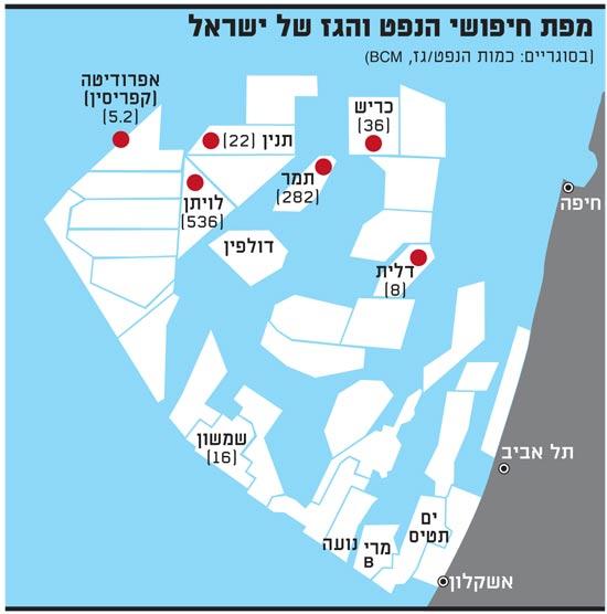 מפת חיפושי הנפט והגז של ישראל