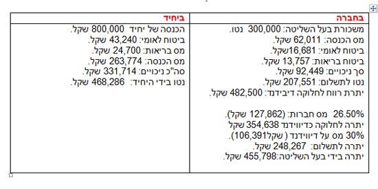 חברה מול יחד / הנתונים באדיבוןת לשכת יועצי המס בישראל