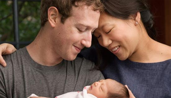 מארק ופרסילה צוקרברג עם בתם מקס / מתוך הפייסבוק