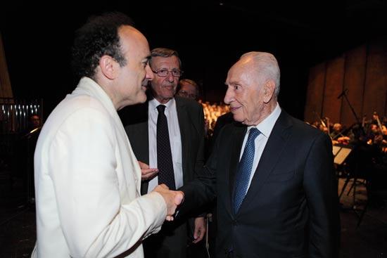 שמעון פרס, יאיר שטרן ופדריק שאזלן/ צלם: יחצ