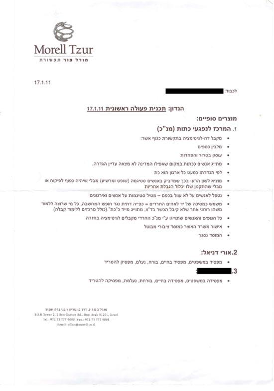 """מסמך ה""""אסטרטגיה"""" המקורי, מתוך משרדו של מוטי מורל"""
