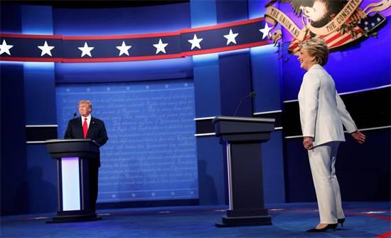 הילארי קלינטון ודונלנד טראמפ, העימות השלישי (צילום: רויטרס)
