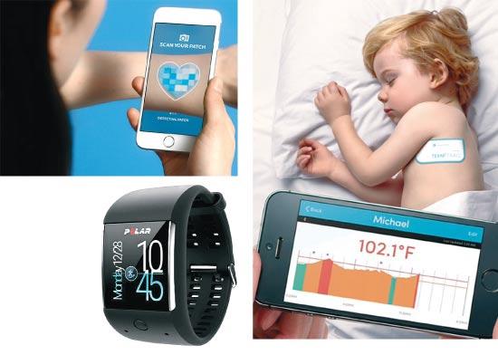 """מדבקת My UV Patch, חיישן TEMPTRAQ, שעון M600 ומשקל BODY CARDIO / (צילומים: יח""""צ)"""
