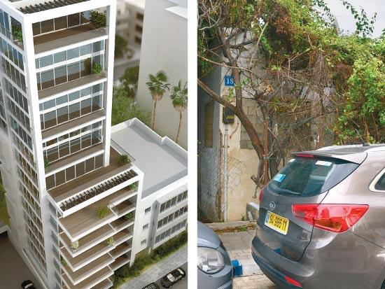 """מגדל הרופאים, ת""""א. המגרש ו הדמיית המבנה / צילום: תמר מצפי ויח""""צ"""