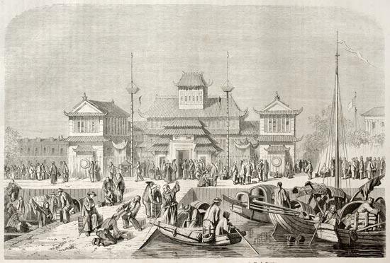 ההיסטוריה של הביטוח - אילוסטרציה ישנה של בית המכס בשנגחאי / צילום:  Shutterstock/ א.ס.א.פ קרייטיב